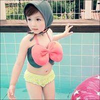 2014 new item girl Butterfly Knot one piece swimwear cute design bow kids bikini bikeways hat