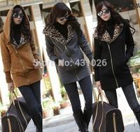 2014 New Women's Long Sleeve Leopard Jacket Coat Warm Sweater Outerwear Casual Zipper Hoodie Sweatshirt W3913