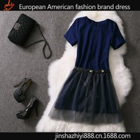 2014 new trend dress wholesale European stations crop top and skirt set real photo