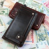 High Quality Luxury Vintage Designer 100% Genuine Oil Wax Leather Cowhide Men Long Wallet Wallets Purse Clutch Bag For Men 9319