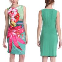 812fashion flower printing  sleeveless sexy nightclub slim dress