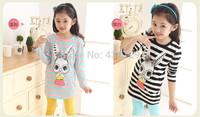Freeshipping HOT autumn new Korean version children's shirt,girl Long sleeve cute cartoon rabbit shirt Pure cotton stripe shirt