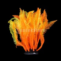New 2014 Brand New SH131S Artificial Fake Coral for Fish Tank Decor Orange + Yellow Free Shipping
