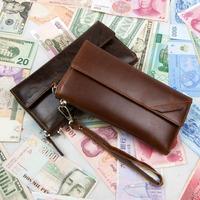 New Vintage Retro Fashion Casual Genuine Leather Cowhide Oil Wax Leather Men Long Wallet Wallets Purse Clutch Bag For Men 9318