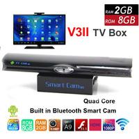 Free Shipping Quad Core RK3188 1.8GHz Adnroid 4.2 TV Box V3II 2GB/8GB Built in 5.0MP Camera MIC RJ45 Bluetooth WIFI DLNA