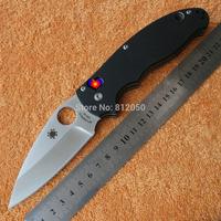 hot sale!! Spyderco Folding Knife Black G10 Handle VG-10 Steel