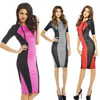 M L Plus Size 2014 New Fashion Women Half Sleeve Knee Length Long Bodycon Pencil Dress Summer Bandage Casual Dress