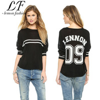 2014 New Women Fashion Sports Sweater with Baseball Stripes and Letter Printing  Loose Swallowtailed Back