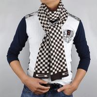 Korea Men's Black Knitted soft plaid scarf Winter Warm Long  Wraps Muffler men soft