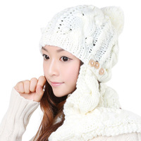Korean version flows fall/winter Hat scarf two-piece warm white woman a whole suit Suite Two Piece Set