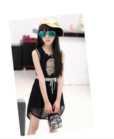Kids girls summer chiffon dress vest dress 2014 new children's clothing graffiti large Korean children clothing