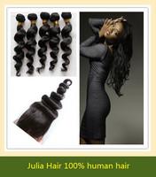 Loose Wave,1 Piece Lace Top Closure and 3Pcs Hair Bundles 100% Human Peruvian Virgin Hair Weft, 4pcs/lot , Good Quality Hair