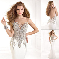 vestido festa longo noite V-neck Backless Beaded White Mermaid Floor Length Evening Gowns New Style Prom dress 2015