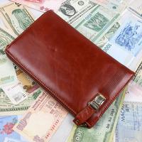 Vintage Fashion Business Casual Genuine Leather Cowhide Oil Wax Leather Men Long Wallet Wallets Purse Clutch Bag For Men 9340