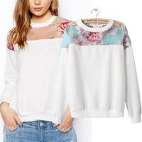 Autumn new arrival 2014 women's fashion rose print perspective organza patchwork color block long-sleeve sweatshirt top t shirt