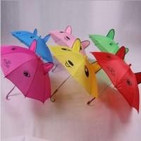New cute cartoon cat ears shape children's umbrellas long handle child rain umbrellas