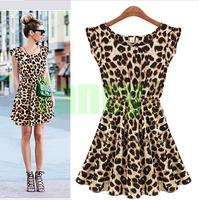 S-XXL Euramerican Fashion Sexy Women Casual Leopard Print Microfiber Summer Dresses Free Shipping