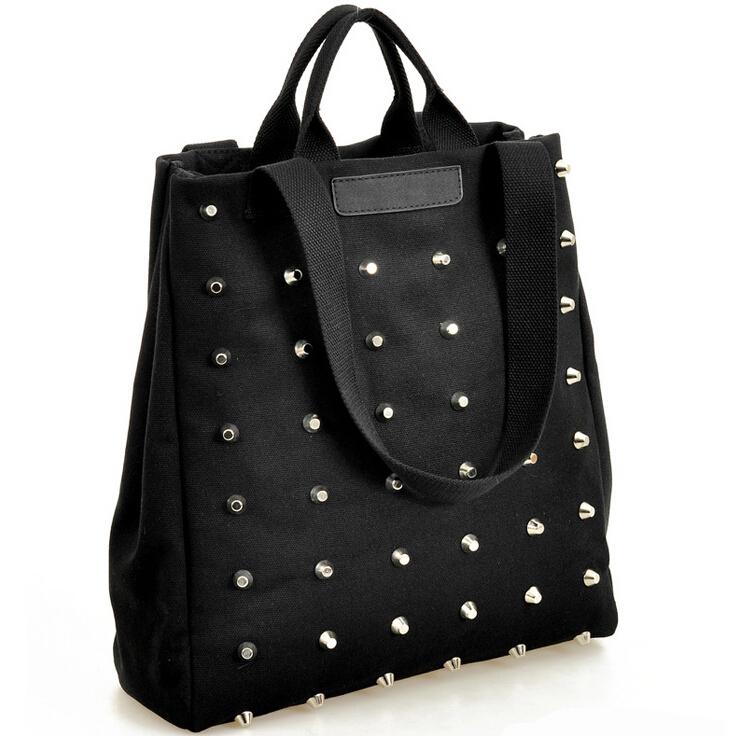 2014 New Fashion Women Rivet canvas handbags shoulder bags Totes H183(China (Mainland))