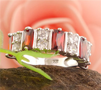 Free shipping 1pc sterling silver Striking Red CZ cubic zirconia Vogue Pretty Womens Ring