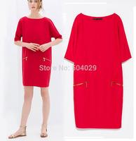 Fashion Women Casual Cotton Mini Dress Brief Style Half Sleeve Ladies Loose Preppy Dress 2 Metal Zipper Pocket Simple and Sweet