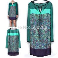 2014 New Autumn Casual Women Ladies Clothing Print Straight Dresses Long Sleeve Dress Vestidos, Green, S, M, L