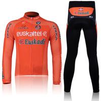 5XL Men's Long Cycling Suit CLASSIC EUSKADI EUSKALTEL maillot Long Sleeve bike jersey + Pants with Gel pad Cheap Cycling Jersey