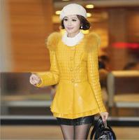 New 2014 European and American Fashion Winter Fur Coat Women Slim Outerwear Long sleeve PU Leather Jackets  Plus Size M L XL XXL