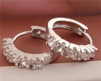 wholesale 1pair sterling silver women's fashion Shining CZ hoop earrings