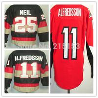 Cheap Men's Hockey Jersey China Ottawa #11 Daniel Alfredsson #25 Chris Neil Authentic Ice Hockey Jerseys Free Shipping