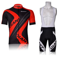 5XL Men's Cycling Suit CLASSIC GIANT BLACK RED Maillot Short Sleeve Bike Jersey + Bib Shorts with Gel pad Quick Dry tights