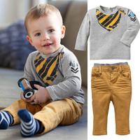 5set/lot wholesale long sleeve boy kids 2pcs set t-shirt pants boy's clothes ,casul sets child clothing