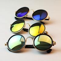 Fashion Vintage Round Women Sunglasses Metal Frame Mirror Lens Love Retro Sunglasses For Freeshipping