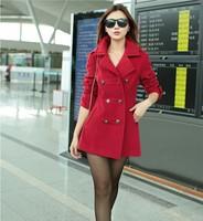New fashion women wool coats female woolen cloak outerwear medium-long blended wool coat Women Wool Coat Free Shipping