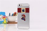 Cute cartoon super mario bros design for apple logo phone cases for iphone 4 4s 5 5s  TPU Transparent  back cover capa celular