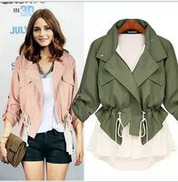 [B-1457] Free shipping 2014 new women casual jacket patchwork lace chiffon drawstring casual frock coat windbreaker