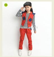 Freeshipping three-piece 2014 autumn new Korean version Children suit,girl stripe T-shirt  waistcoat children's garments
