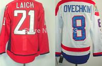 Wholesale Men's Ice Hockey Jerseys #8 Alex Ovechkin White #21 Brooks Laich Red 100% Polyestser Jersey Free Shipping