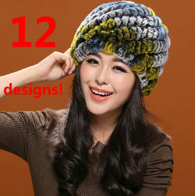 Brand Genuine REX Rabbit Fur Hat Knit Wool Beanie Cap Pineapple Pattern White Black Lining Winter Women Lady Skullies Care Warm(China (Mainland))