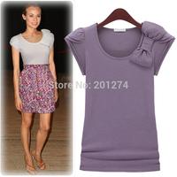 Summer short-sleeve 2014 women's t-shirt short-sleeve slim basic shirt solid color elastic black-and-white