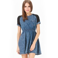 2014 Women summer Blue Contrast Short Sleeve Denim dress Women's Skater Dress