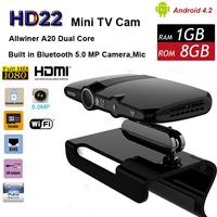 Free Shipping  HD22 Dual Core Built-in 5.0MP Camera Android TV BOX AllWinner A20 1/8GB 1080P Smart Mini PC HDMI Output Wi-Fi