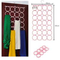 28 Rings Circles Scarf Holder Tie Belt Hanger  H746701
