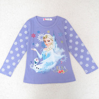 3 colors 3-8y 2014 Girls Spring Autumn Cartoon Children kids baby Frozen Princess T shirt long sleeve girl tees Top shirt