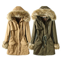 [B-1436] Free shipping winter fur jacket 2014 women Casual grew thick fur collar cotton coat Drop shipping supported!