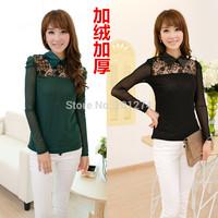 Women's t-shirt long-sleeve 2014 spring women's plus velvet cutout turn-down collar gauze basic shirt long-sleeve basic shirt