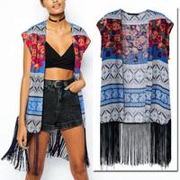 2014 New Summer Women's Ethnic BOHO Floral Print Sleeveless Loose Kimono Cardigan Tassels Shirts No button Blouses Tops