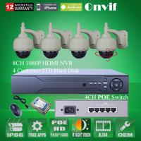 1080P Onvif H.264 8CH NVR CCTV System Security Surveillance Kits 4PCS 2MP Pan Tilt HD Network CCTV POE IP Camera