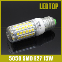 1pcs 15W LED Corn Bulb lamps Ultra Bright SMD 5050 E27 AC 200V 220V 240V lamp 69leds Pendant light Chandelier lustres
