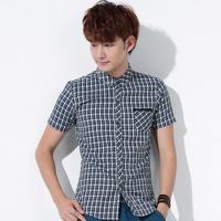 Luxury short-sleeve plaid shirt male quality classic all-match 100% cotton shirt summer 2014 new men blouses