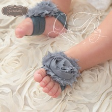 30 pair/lot Baby Barefoot Sandals with Shabby Flower On Wide Elastic Headband Baby Girl Footwear(China (Mainland))